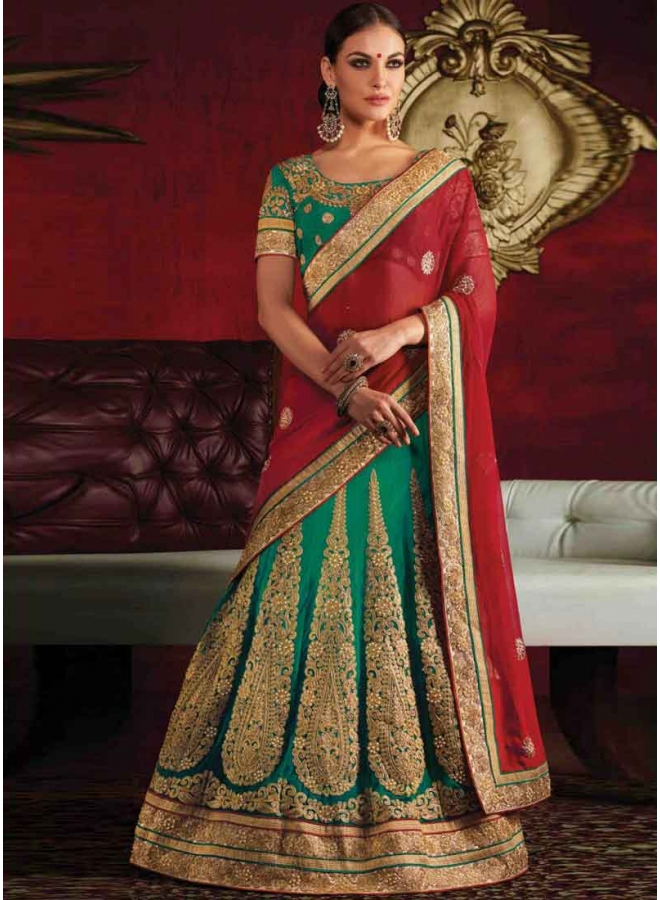 92d2d9b431 Radiant Red Sea Green Embroidery Work Net Georgette Wedding Lehenga Sarees