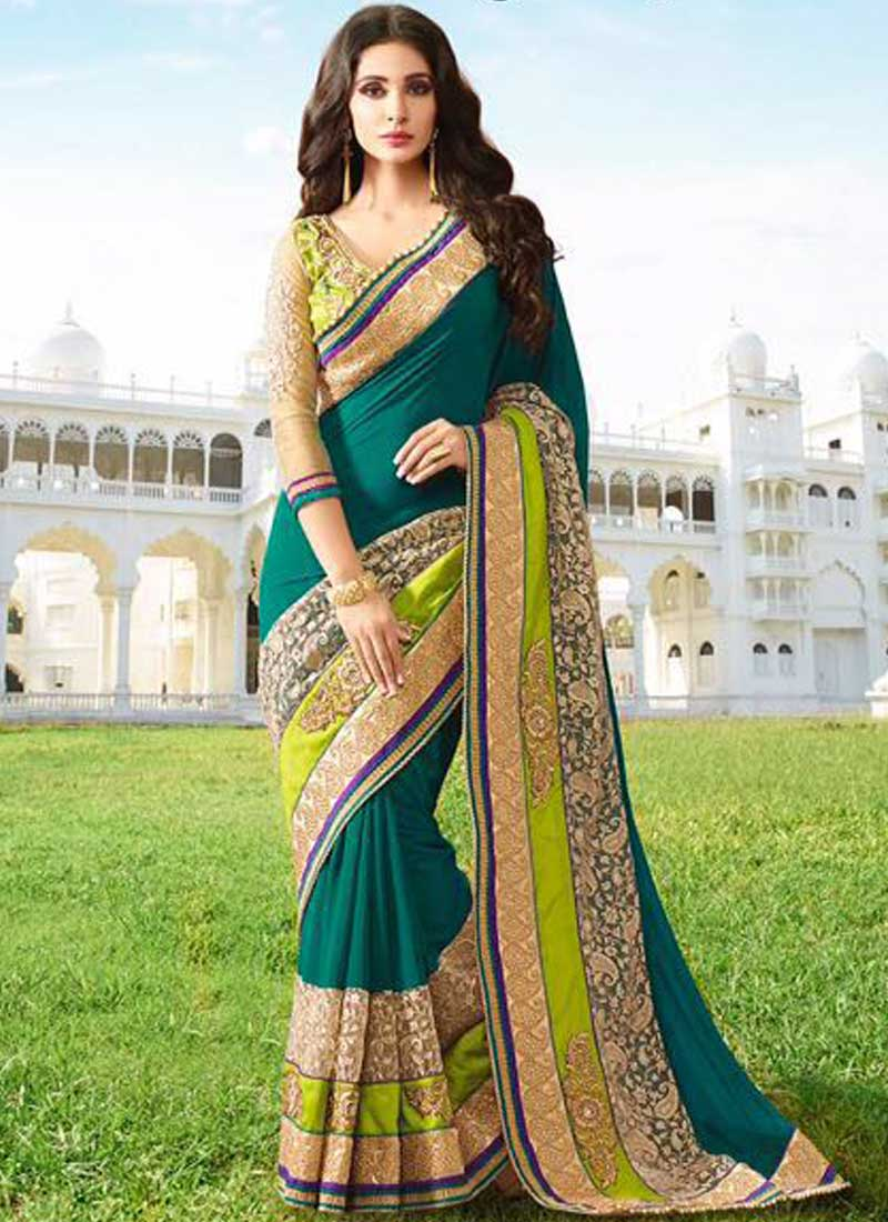 518a111ce8 Teal Embroidery Lace Border Work Moti Work Georgette Party Wear Designer  Sarees