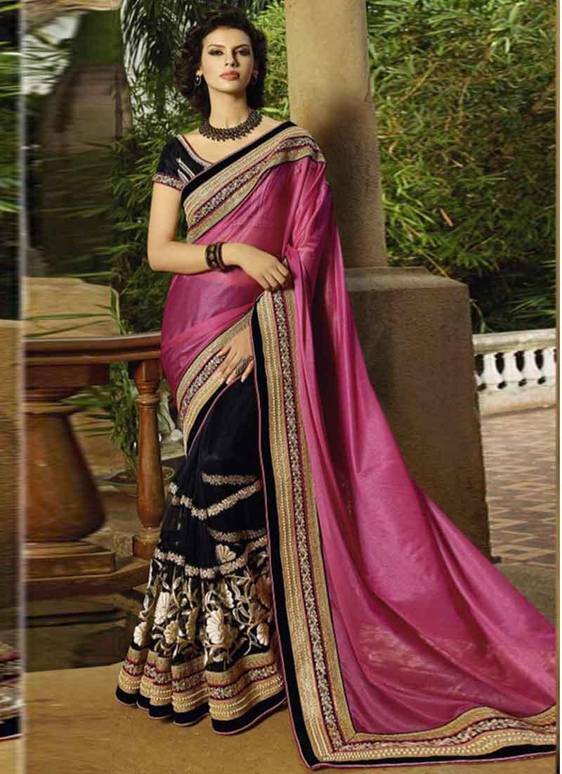 3fdfaed98d Blasting Black and pink Embroidery work half Net Saree. Online silk ...