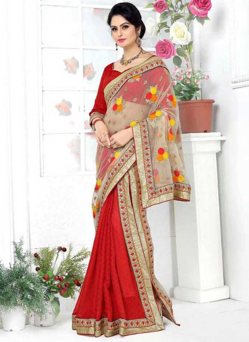 0798d638bcbd Red Beige Embroidery Booti Work Banarasi Silk Designer Fancy Lehenga Sarees