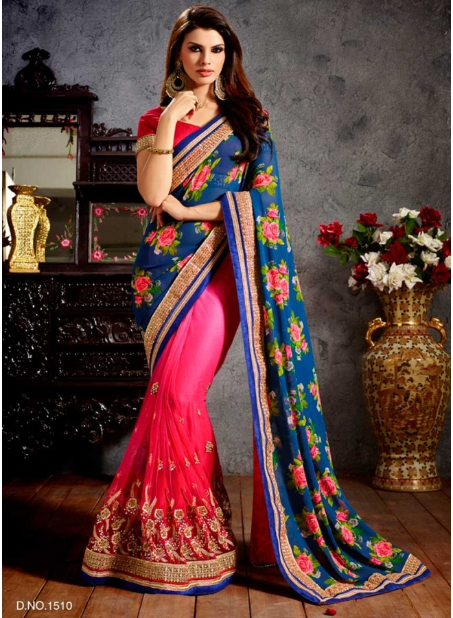 Designer Blue And Pink Digital Print With Heavy Embroidery Work