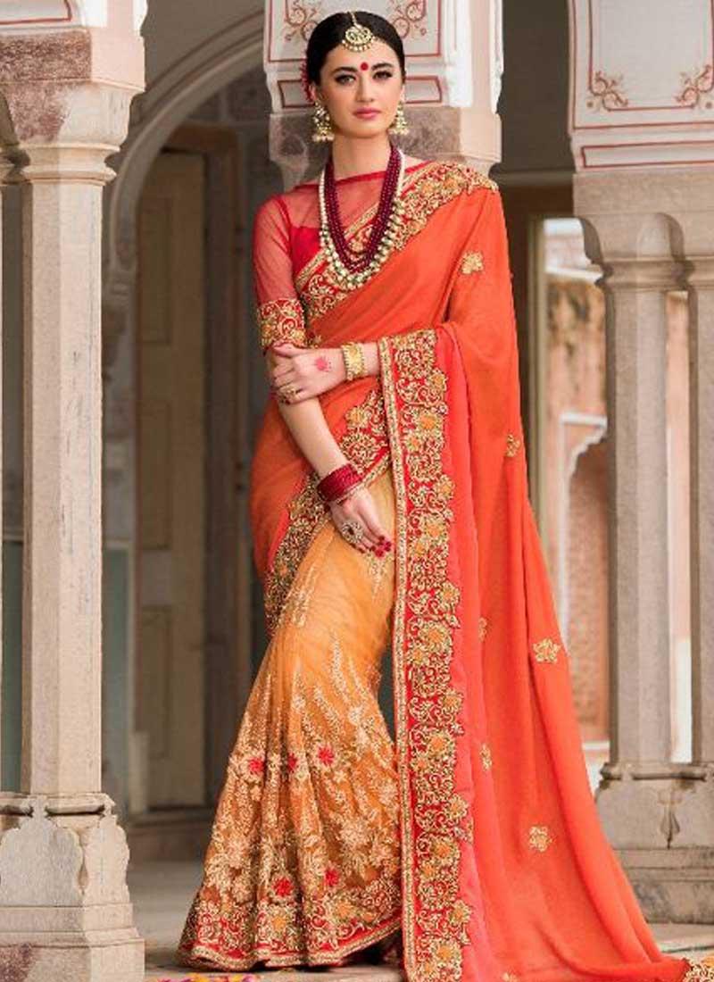ddd83ba296a6 Orange Cream Embroidery Work Silk Net Designer Party Wear Half Wedding  Sarees