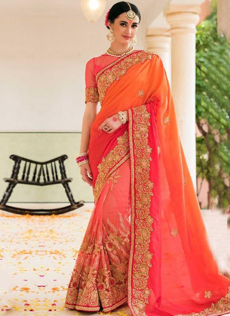 34423cbd7583 Pink Embroidery Work Silk Net Designer Party Wear Half Wedding Sarees