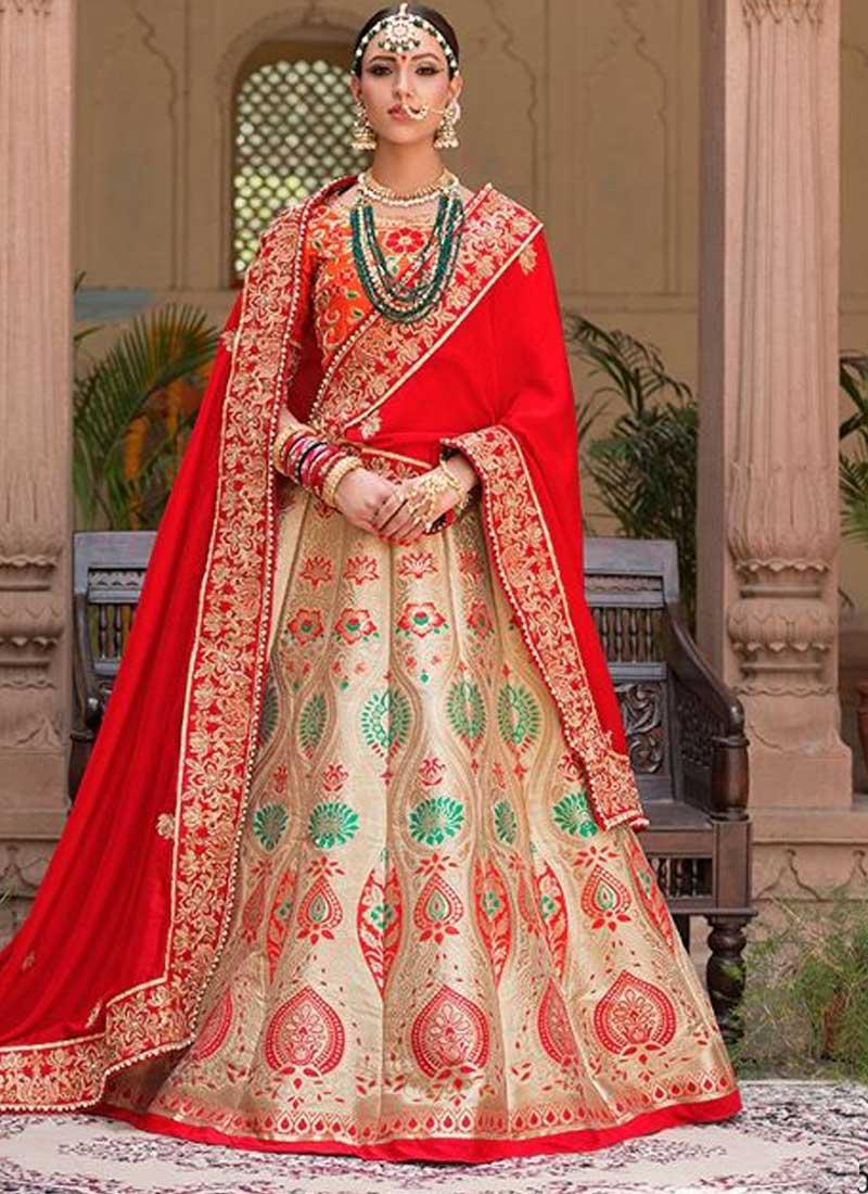 cf00047f2b Red Beige Embroidery Booti Work Banarasi Pure Silk Designer Lehenga saree