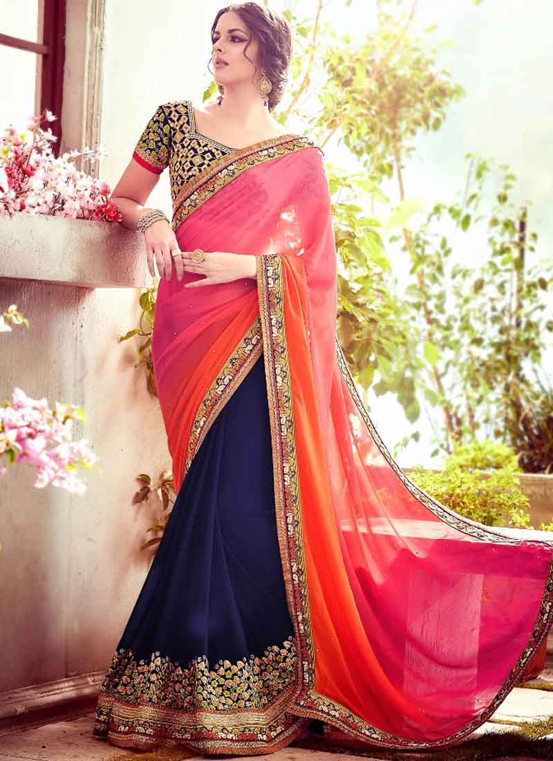 Awesome Navy Blue Half N Half Georgette Stone Work Heavy Embroidery