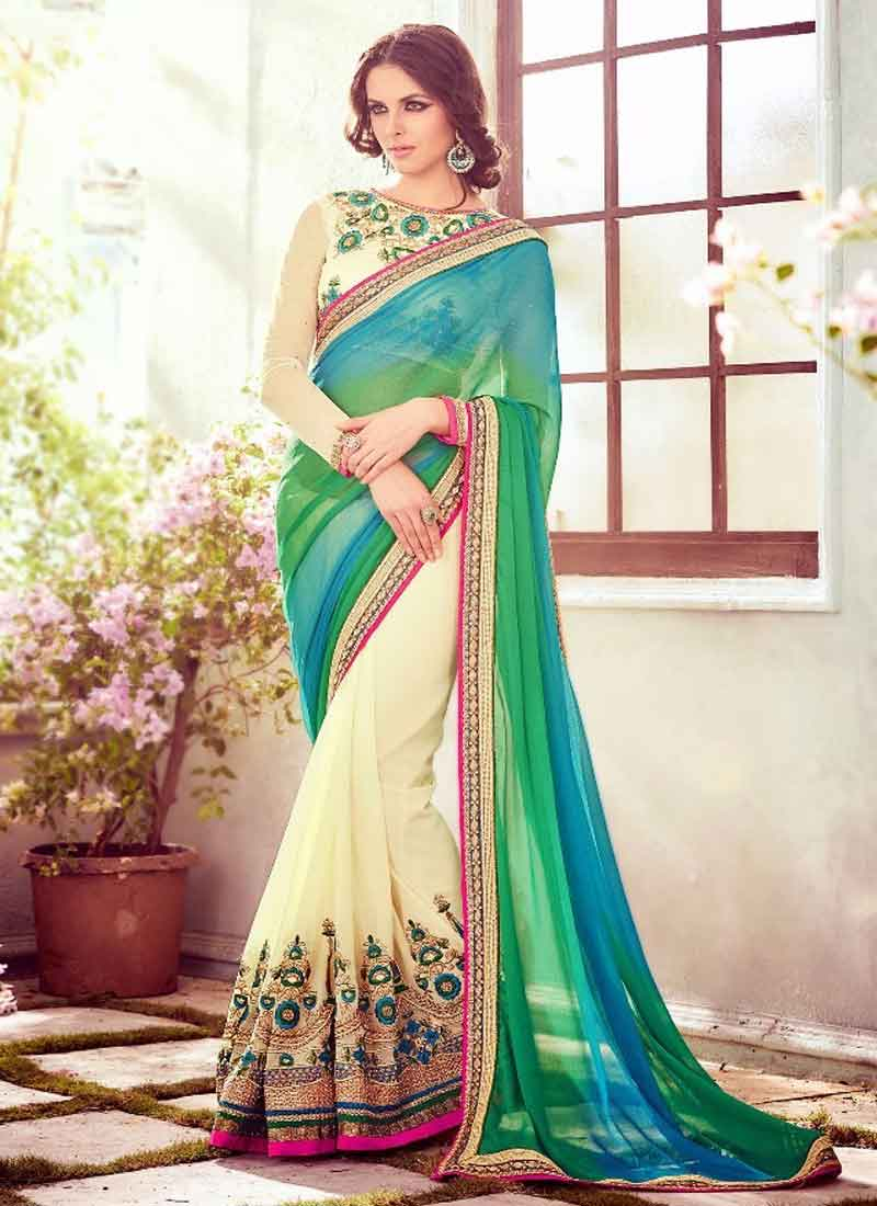7d98e112fb Beautiful Multi Color Patch Border Embroidered Stone Work Art Silk Party  Wear Sarees. Stylish Yellow And Green Shaded Patch Lace Border Moti Work  Georgette ...