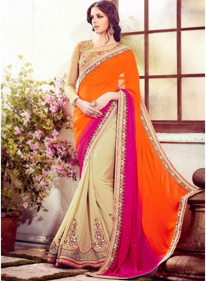 bd44343a41 Charming Cream Orange And Pink Stone Work Silk Shaded Heavy Embroidered  Blouse Designer Sarees