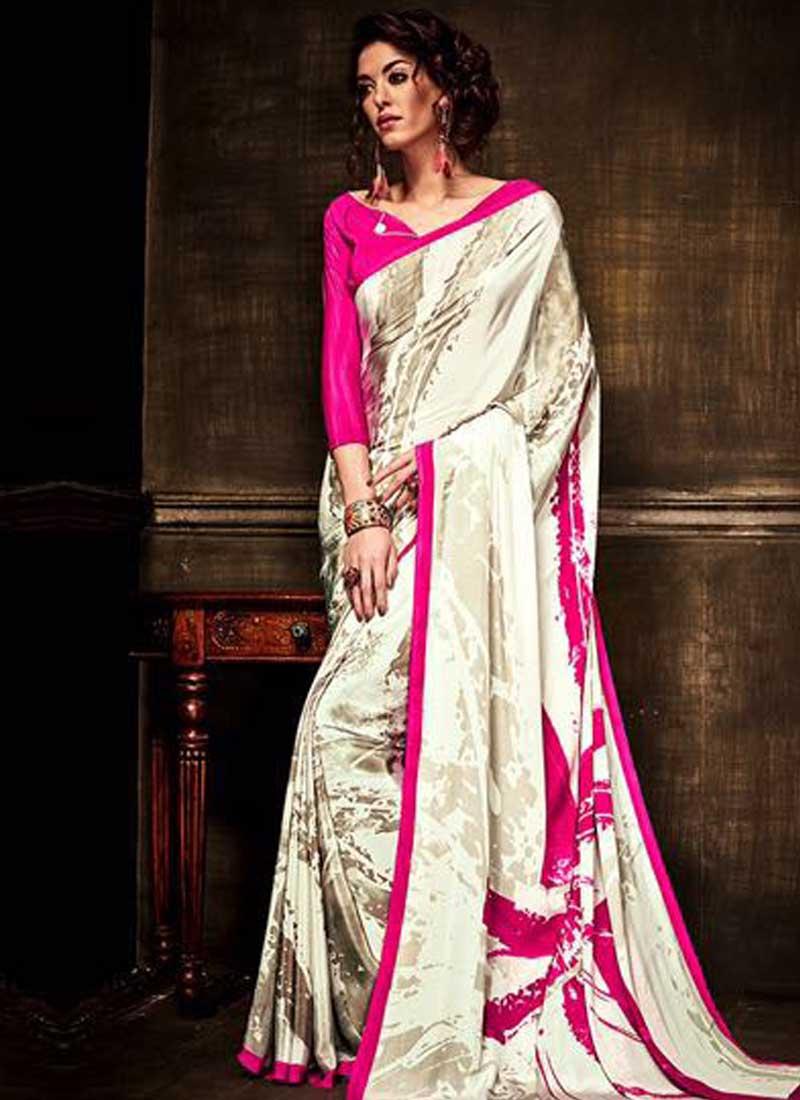 47ee0fa57a391f Grey Printed Pure Crepe Silk Designer Fancy Party Wear Sarees. Buy ...