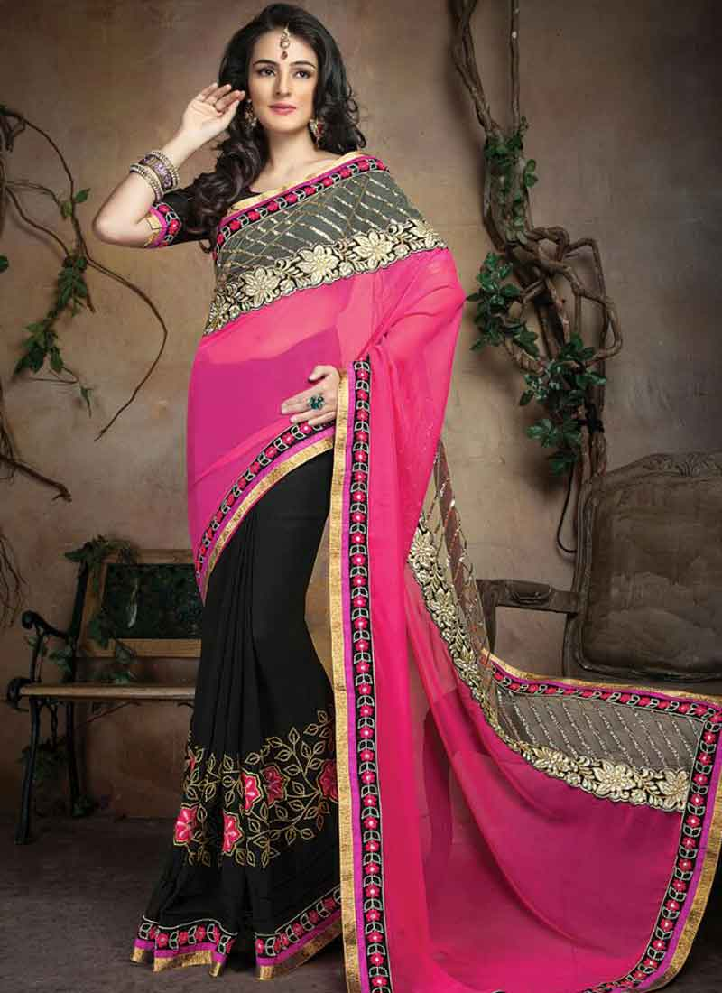 88f92c0a974179 Fabulous Pink And Black Embroidery Patch Work Lace Border Faux Georgette  Casual Sarees