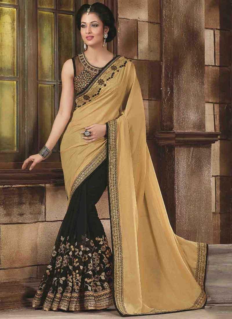 712f12275b Beige Black Embroidery Mirror Work Georgette Silk Wedding Designer Sarees