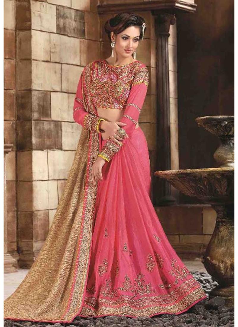 5e2d1383a39 Hot Pink Beige Embroidery Work Gold Crush Silk Wedding Sarees.Online ...