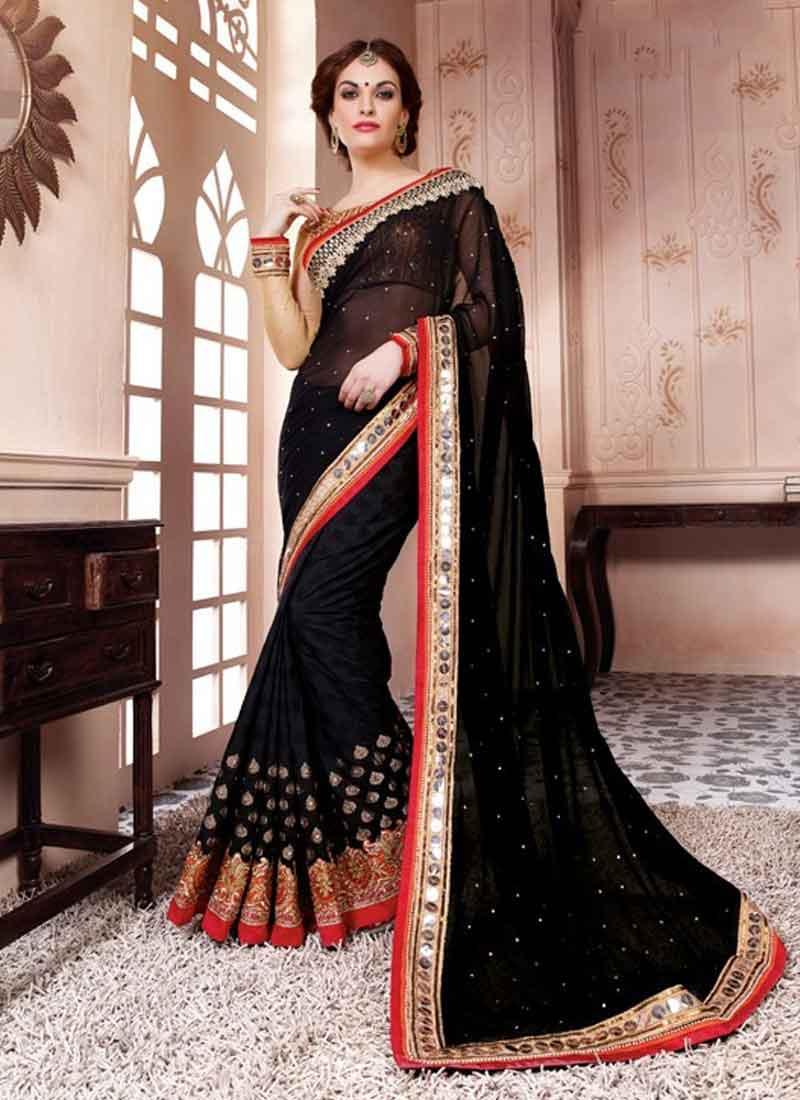 5765c98940 Blooming Black Pure Georgette With Mirror Work Saree. Online Buy ...