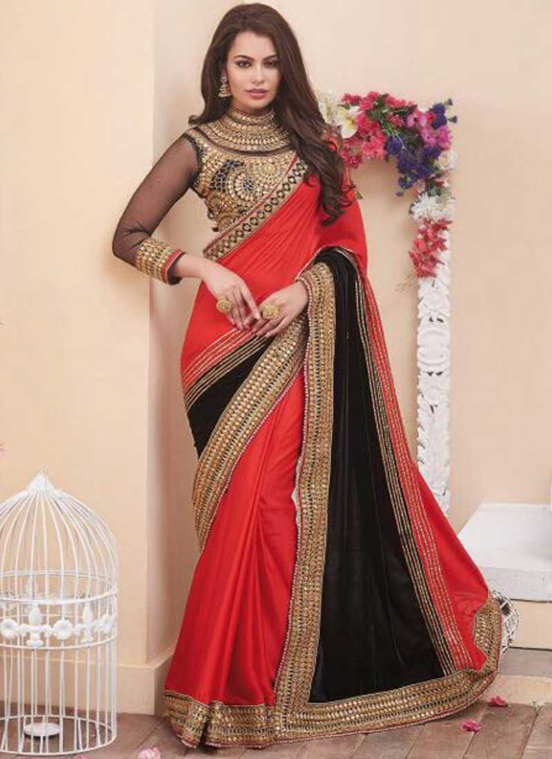 red black diamond work mirror work crepe silk raw silk designer wedding sarees