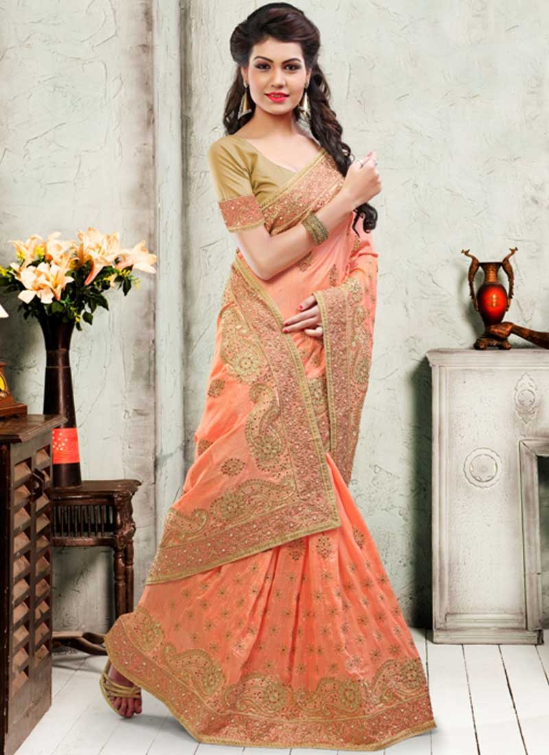 peach embroidery stone work soft silk designer wedding sarees