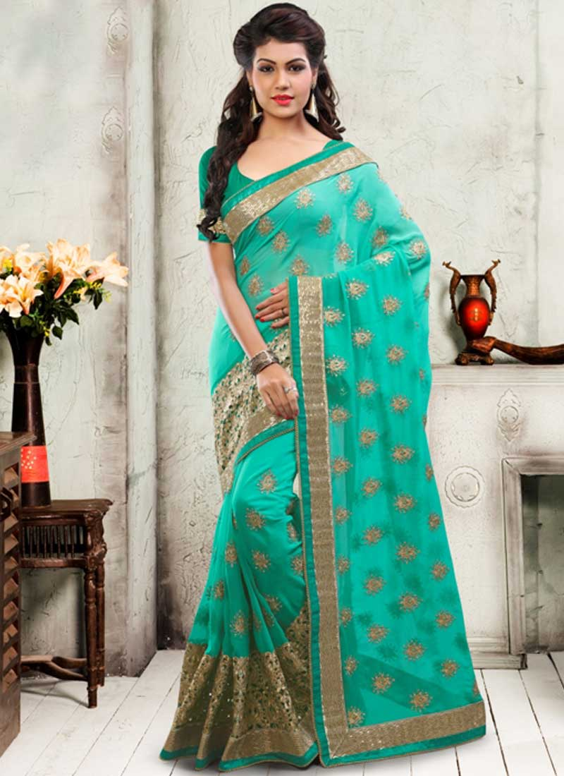shaded rama green cut work booti work georgette designer wedding sarees