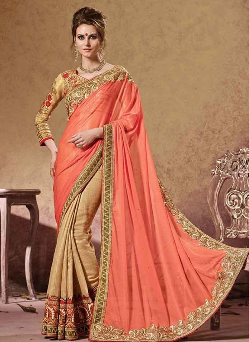 ee6741445 Amusing Orange And Cream Lining Silk Half N Half Saree. Online Buy ...