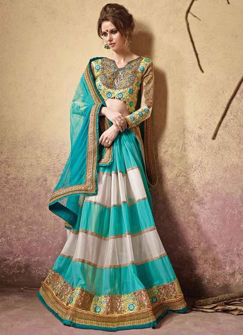 c3ee7abf2a Fancy Sky Blue Green And Cream Soft Net Designer Lehenga Saree ...