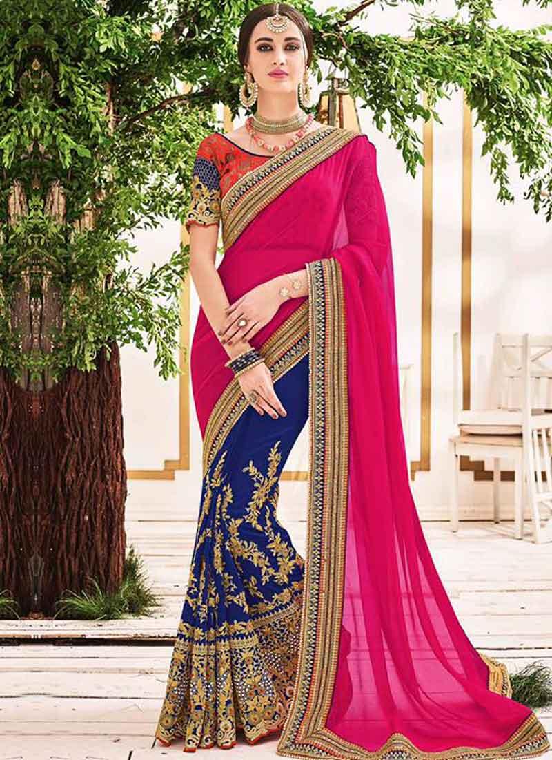 0a632660f4 Blue Magenta Embroidery Work Georgette Silk Fancy Designer Wedding Half  Sarees