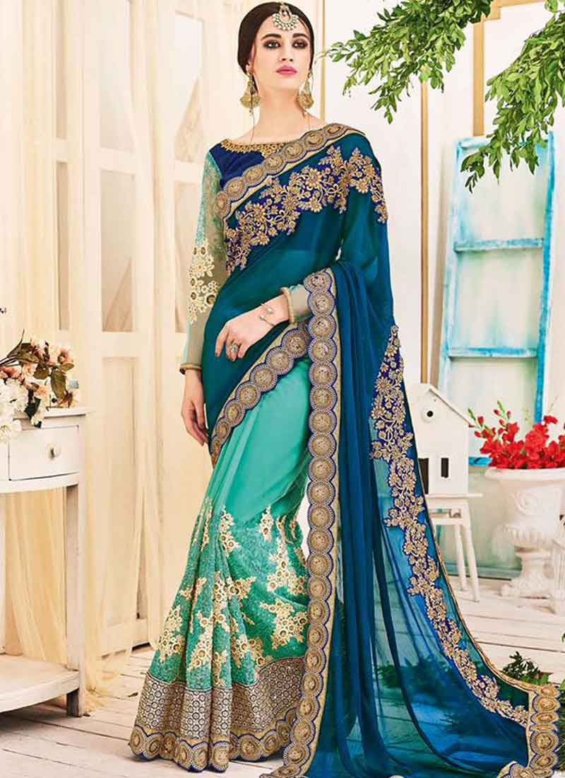 8f26f450d7 Blue Turquoise Embroidery Work Georgette Net Designer Fancy Wedding Half  Sarees