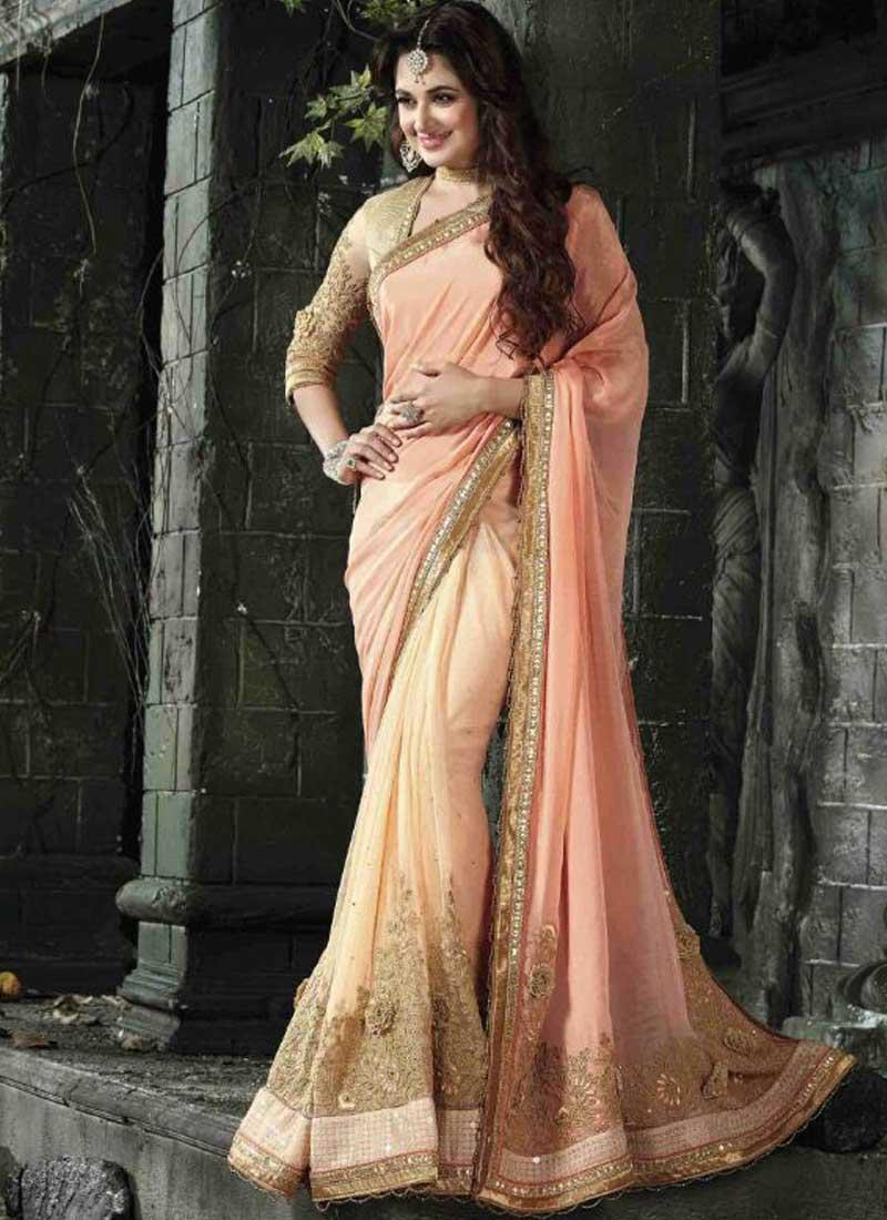 f599bceeb23d2a Peach Heavy Embroidery Karachi Work Chiffon Bridal Half Sarees . Buy ...