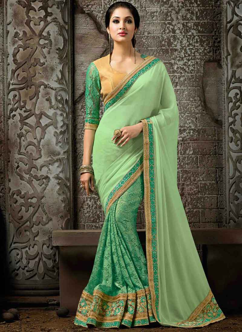 ef6b8bcad3 Sea Green Embroidery Lace Border Georggette Net Wedding Party Wear Sarees