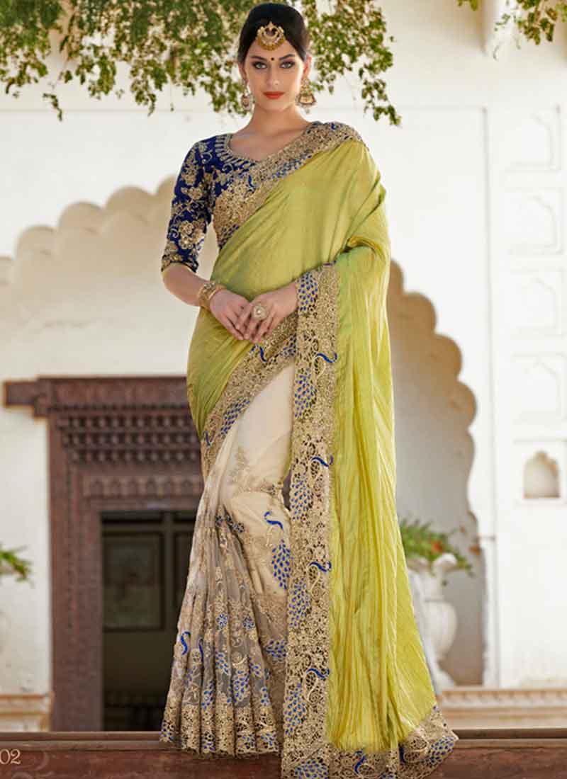 16a6b30727 hypnotic Green And Off White Chiffon Half N Half Designer sarees ...