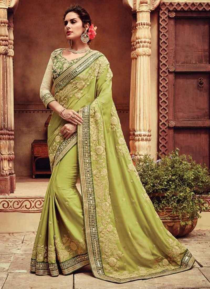 50fb5b7b85 Light Green Embroidery Stone Work Pure Silk Designer Wedding Sarees ...