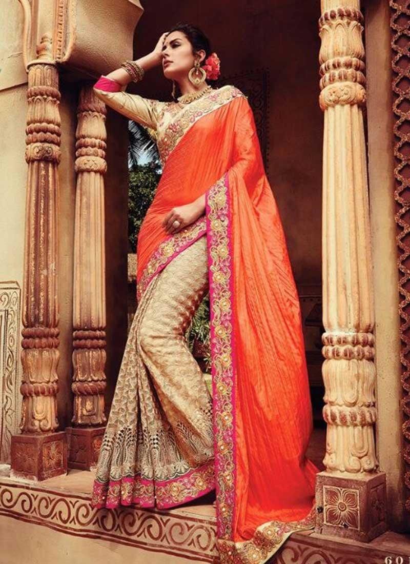 126f6f1deded Orange And Beige Embroidery Thread Work Moti Work Raw Silk Net Bridal Sarees