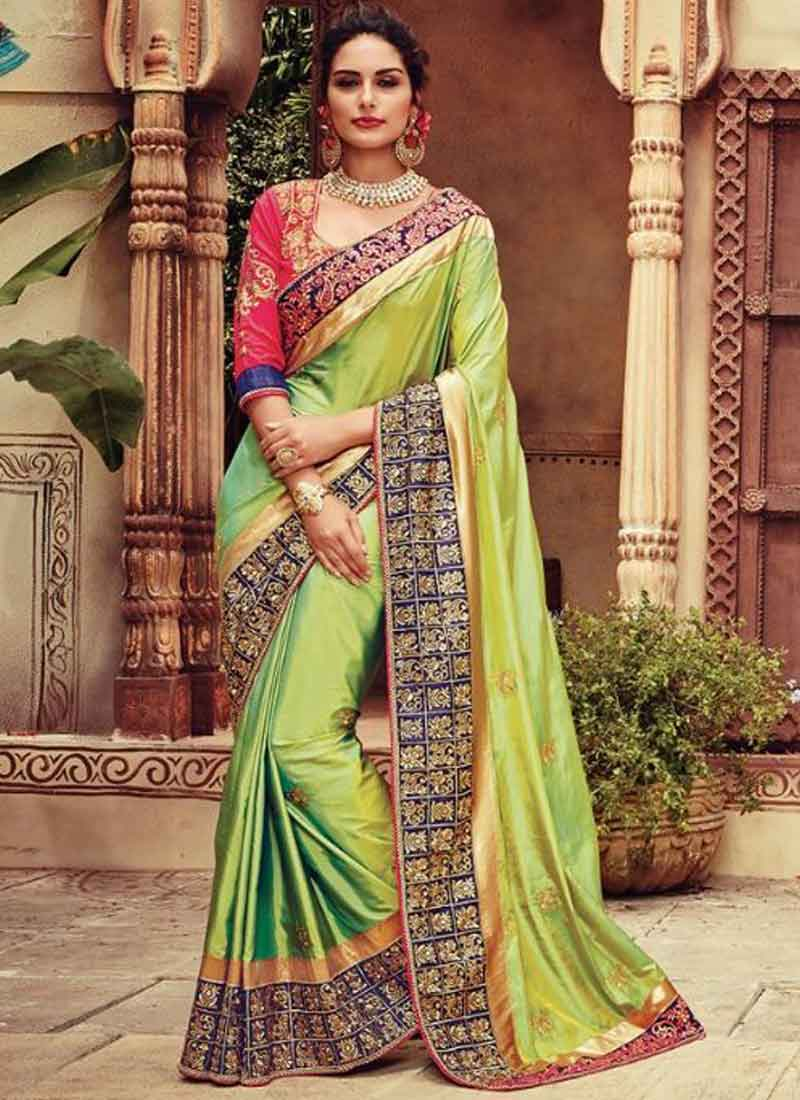 3f7df99783 Perot Green Lace Border Embroidery Work Stone Work Silk Party Wear Designer  Sarees