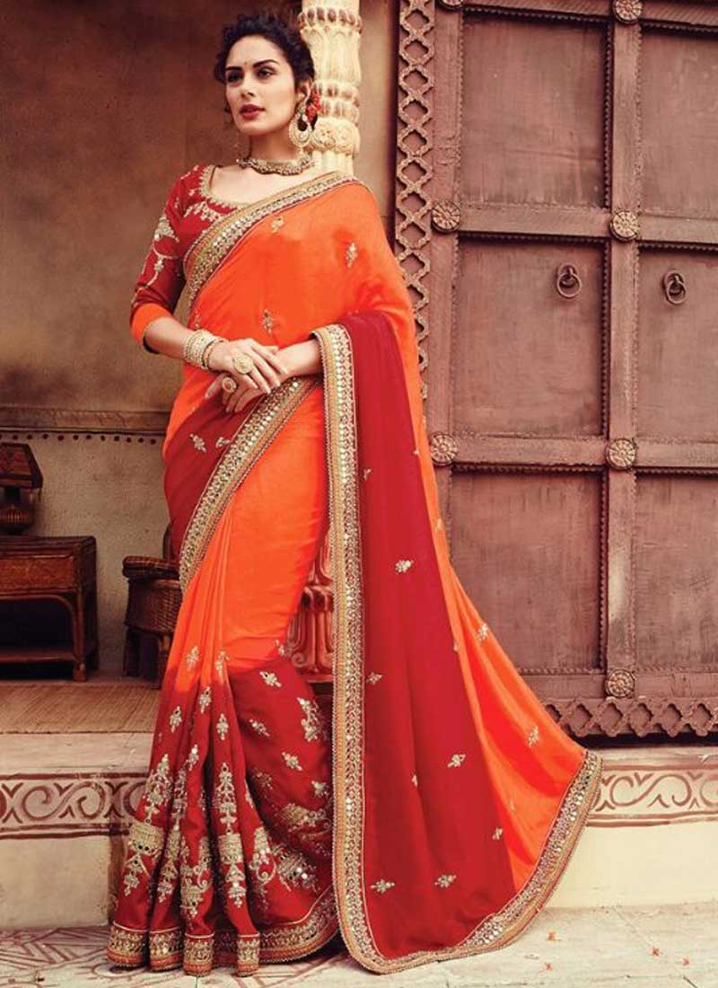 352e491016 Red Orange Shaded Embroider Sequins Work Stone Work Georgette Wedding Sarees