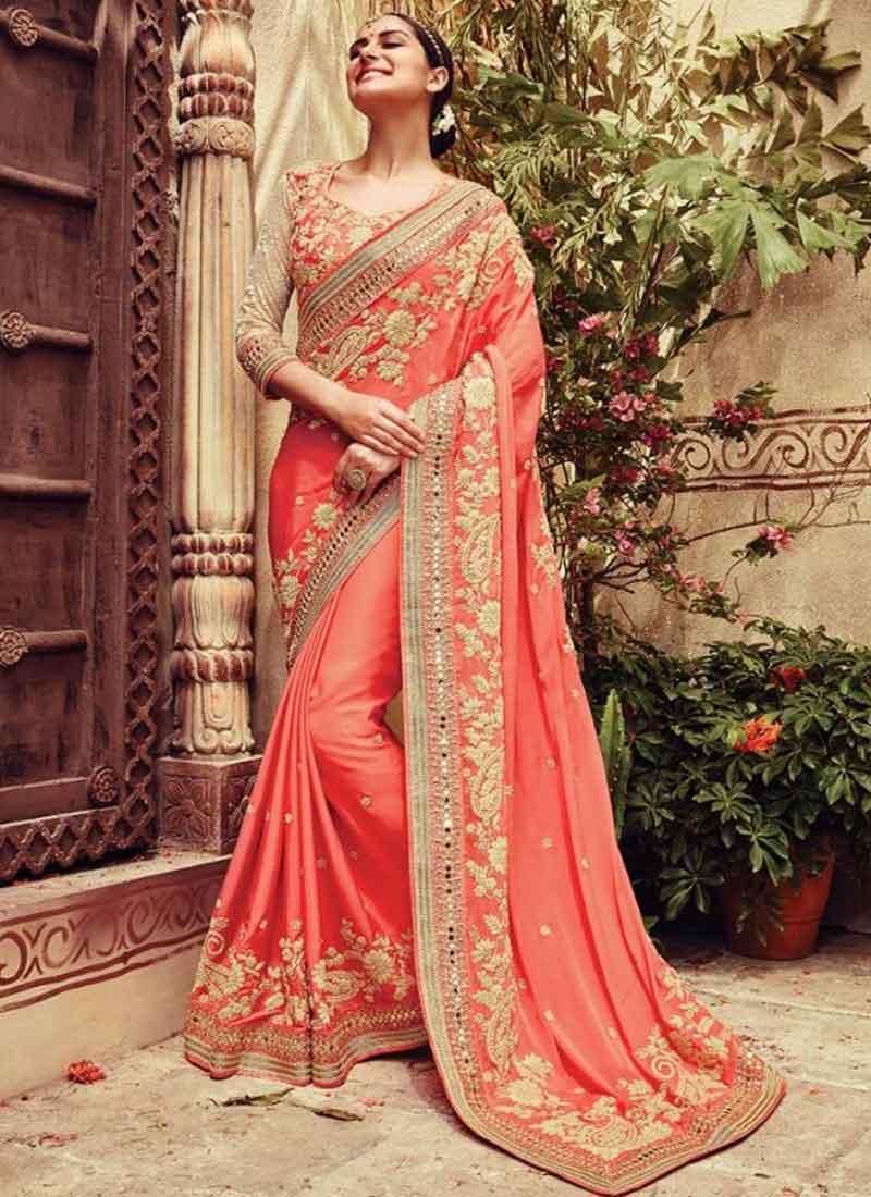 fbea8980111b7b Tomato Red Embroidery Mirror Work Silk Wedding Sarees.Fancy Work in ...