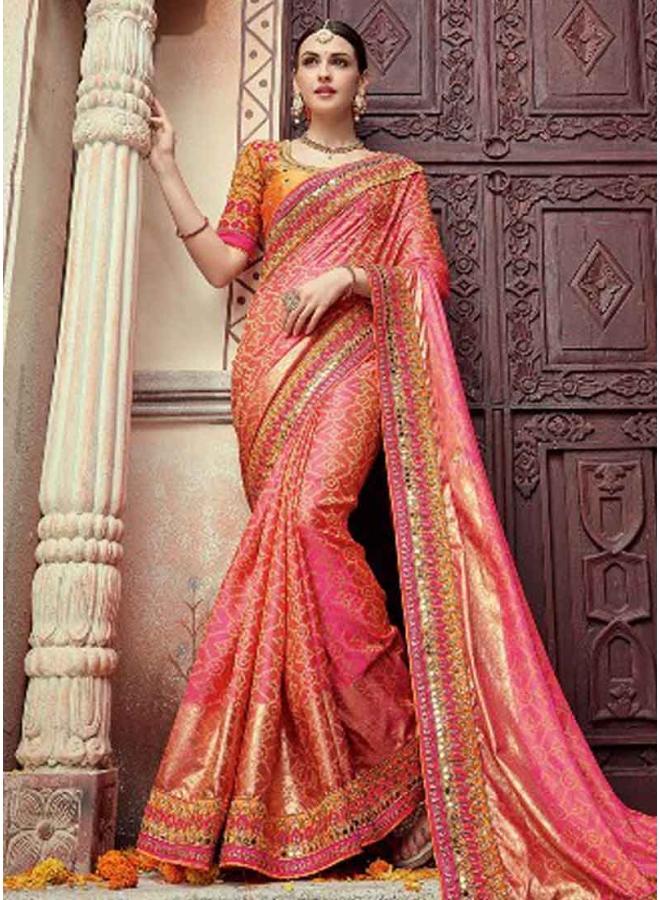 797209b57b Pink Embroidery Mirror Work Silk Fancy Designer Wedding Bandhani Sarees
