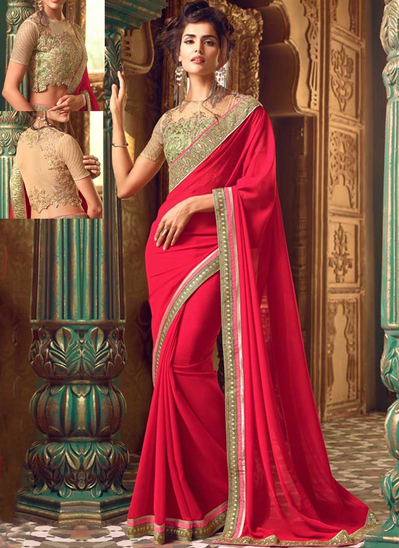 ad297042a9 Hot Pink Embroidery Work Georgette Fancy Designer Party Wear Sarees ...