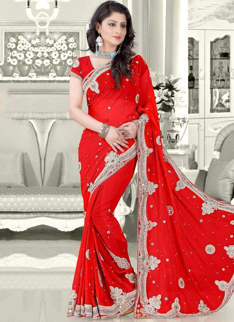dc38aa1490 Red Stone Work Moti Work Georgette Fancy Designer Wedding Sarees ...
