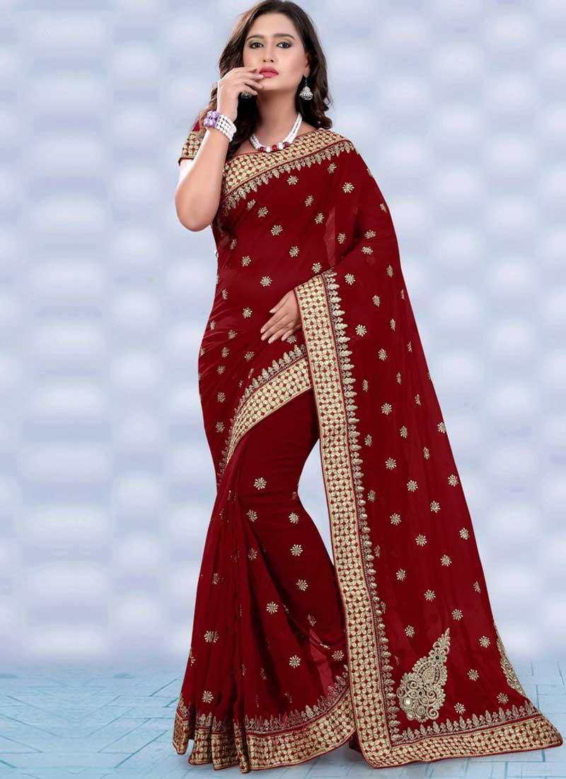 Dark Red Embroidery Booti Work Georgette Designer Fancy Wedding ...