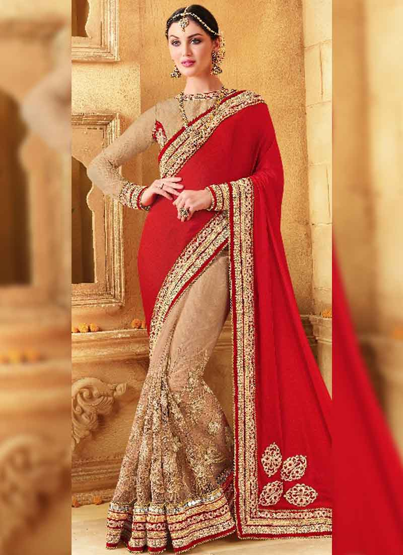 Red Cream Cut Work Glitter Net Silk Wedding Half Sarees