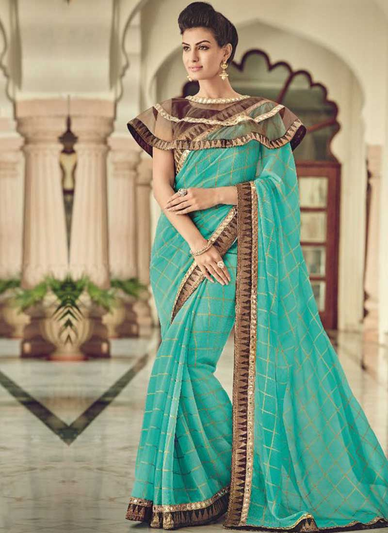 3a3928d59b43f Sky Blue Mirror Work Lace Border Work Georgette Checks Print Designer Sarees