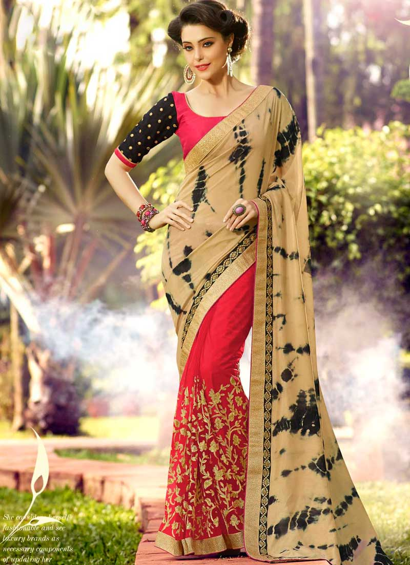 88218ad7aa Cream Red Embroidery Resham Work Lace Border Shibori Printed Party Wear  Sarees