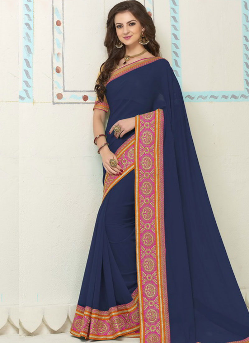 df72009ba6 Navy Blue Embroidery Work Border Lace Banarasi Silk Georgette Designer  Sarees