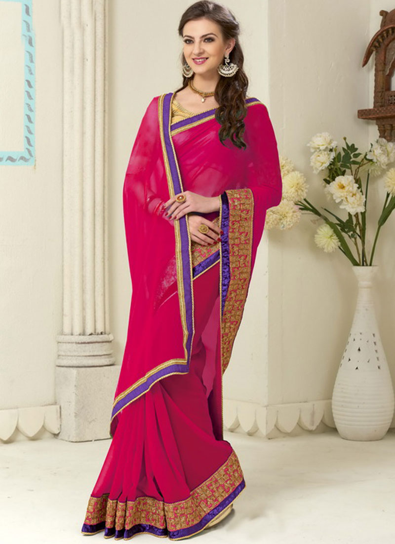 607bf680581f51 Rani Pink Embroidery Work Border Lace Georgette Banarasi Silk Designer  Sarees
