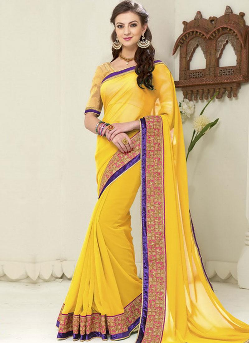 b52bdc8a928584 Yellow Embroidery Work Border Lace Georgette Banarasi Silk Designer Sarees