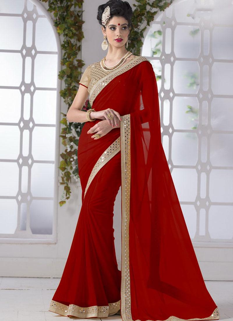 fa5124e484 Red Mirror Work Border Chiffon Georgette Designer Party Wear Sarees ...