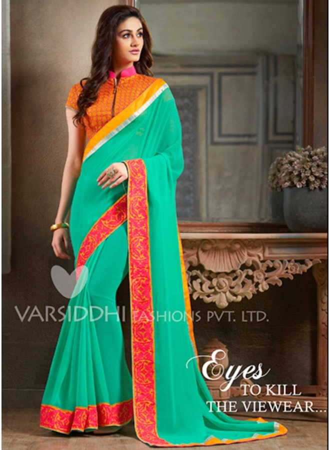 43e30106a3b60 Modern Turquoise Faux Georgette Resham Work Patch Border Work Saree ...