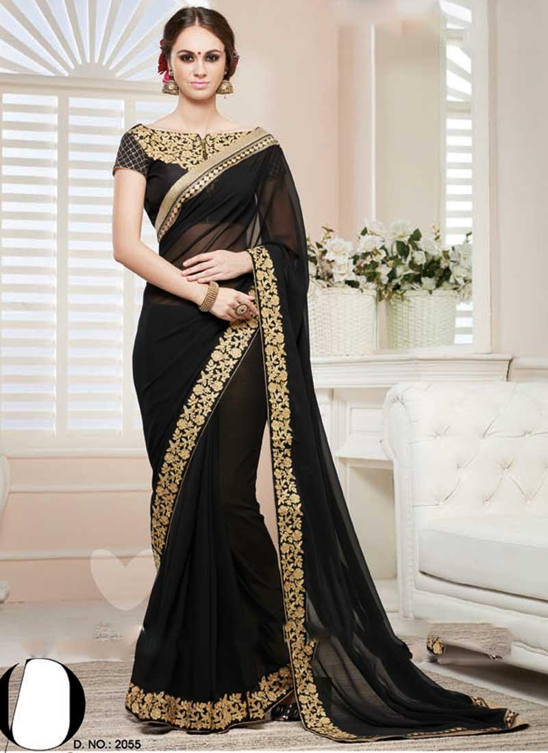 05331524cb Beautiful Black Embroidery Work Georgette Banglori Silk Wedding Sarees