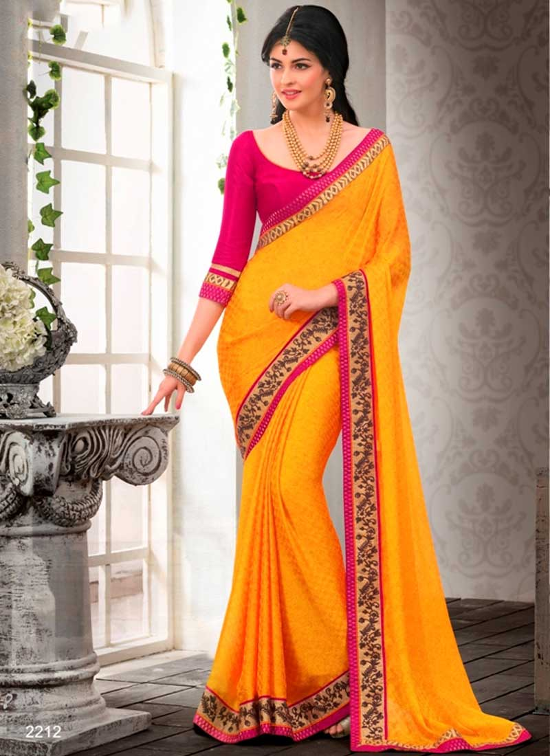 fb47bd26d468cc Gold Embroidery Work Printed Chiffon Satin Party Wear Sarees ...