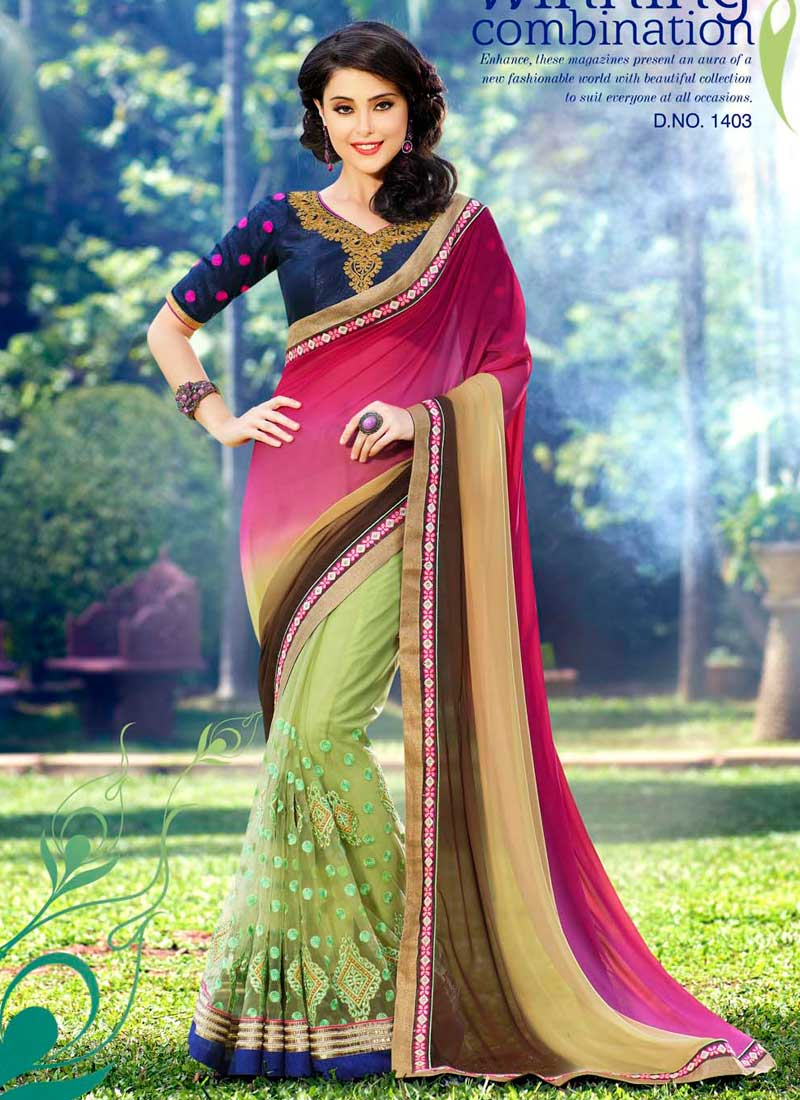 901ca8e43e Fine Pink And Green Net Embroidery Patch Border Work Saree. Buy ...