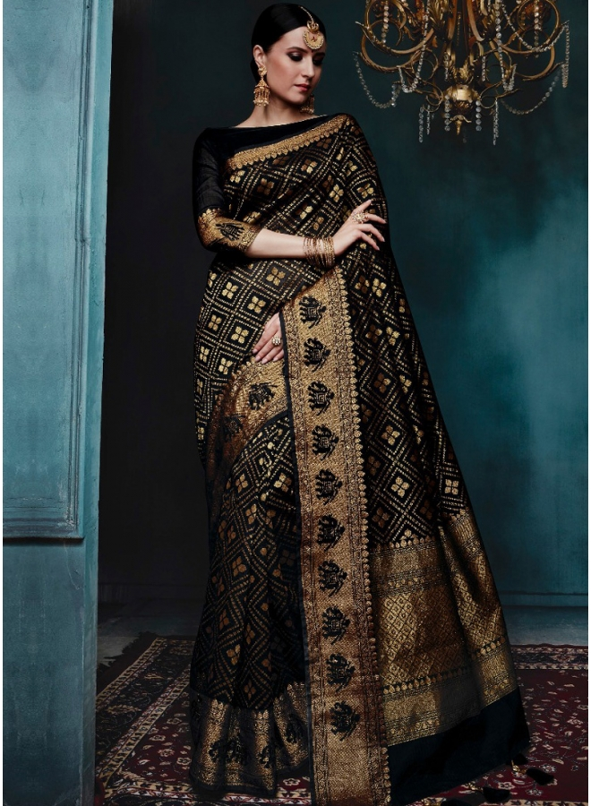 Black Golden Print Pure Banarasi Silk Wedding Party Wear Designer Saree