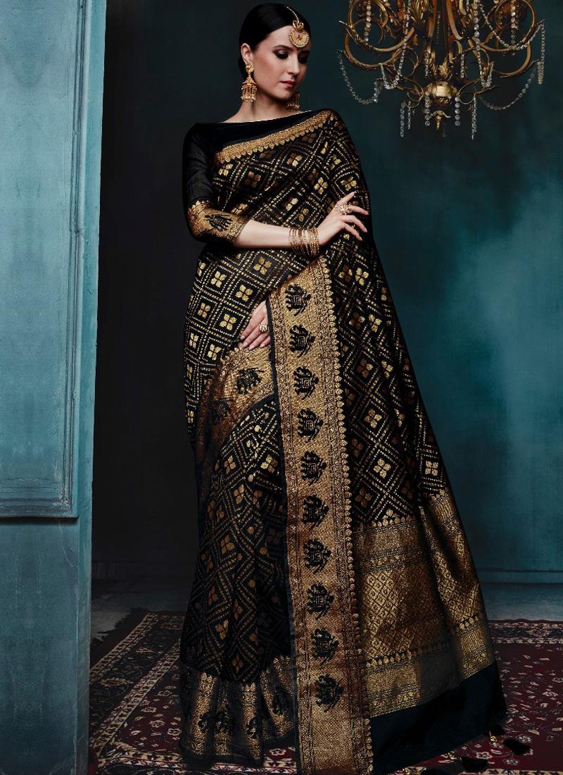 c0d34f3d31 Black Golden Print Pure Banarasi Silk Wedding Party Wear Designer Saree