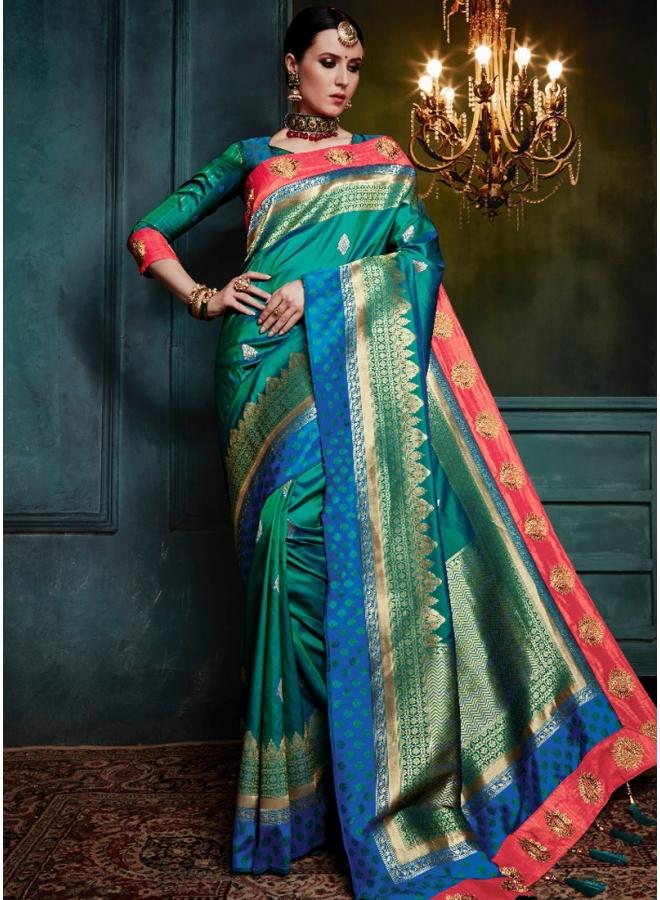 Green Embroidery Work Print Banarasi Silk Wedding Party Wear Designer Saree