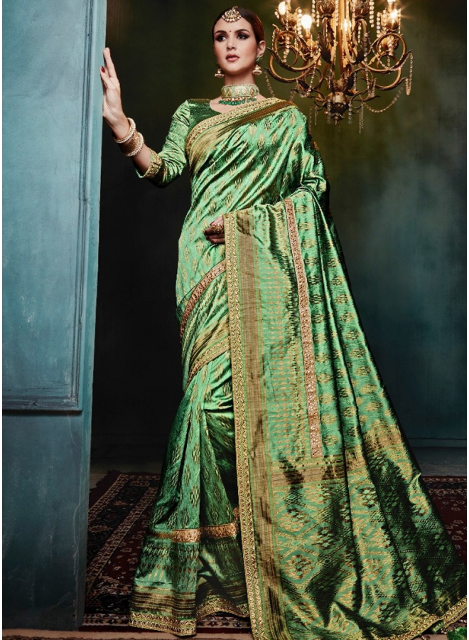 Green Golden Print Pure Banarasi Silk Wedding Party Wear Designer Saree